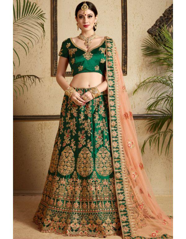 14fb782e3a Bottle Green Wedding Wear Lehenga Choli in 2019 | Lehenga Choli ...