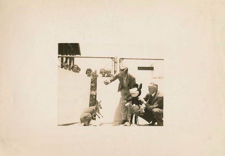 RARE 1935 WALT DISNEY w EARLY MICKEY MOUSE DOLL & a Kangeroo