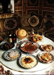 Moroccan Food: diverse and flavorful. as you can see it's usually meat that is served as the first meal and then comes the desert which usually consists out of fruit and icecream.