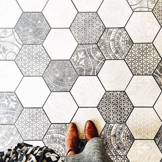 hexagon floor tiles.