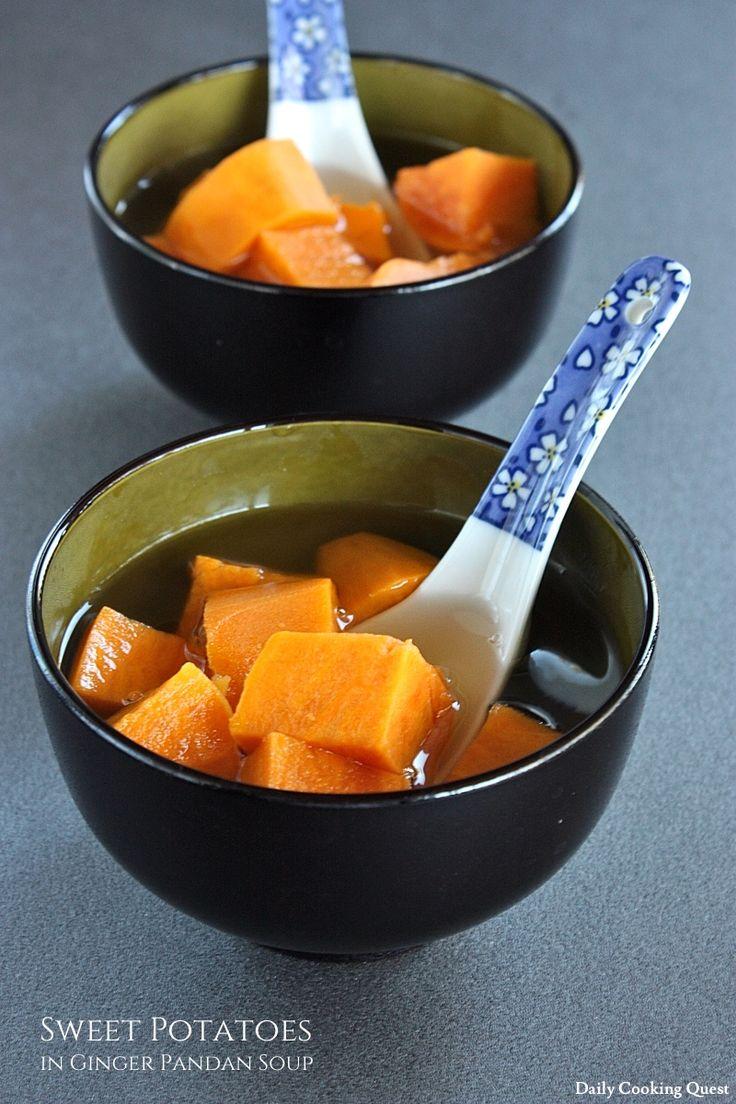 Sweet Potatoes in Ginger Pandan Soup