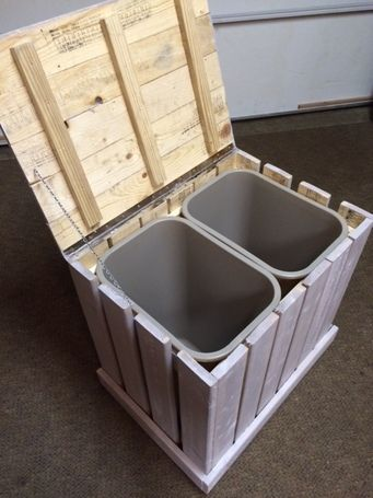 rustic trash recycle bin made from pallet wood dog food
