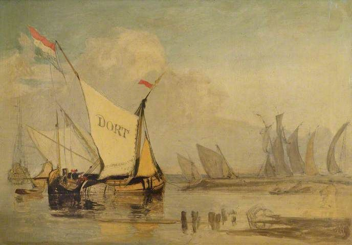 "John Sell Cotman, ""Dutch boats off Yarmouth Coast"""