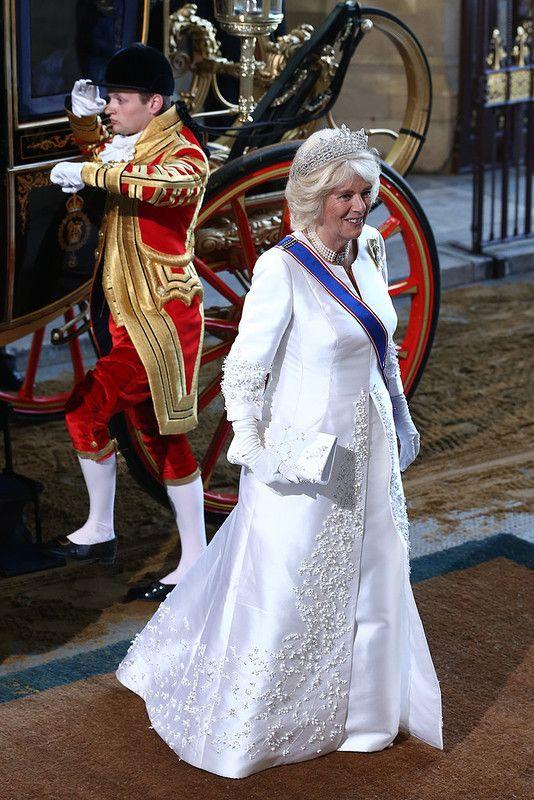 Камилла Паркер-Боулз прибывает на открытие парламента.  Хороша,  хороша.