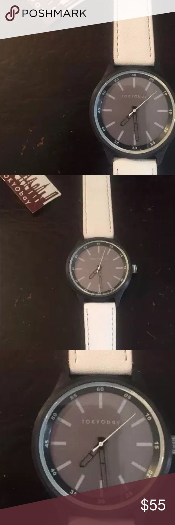 Tokyo Bay Unisex Leather Watch, NWT, $110 Tokyo Bay Unisex Watch, White Leather, Quartz (Battery), NWT, Might need a new battery Tokyo Bay Accessories Watches