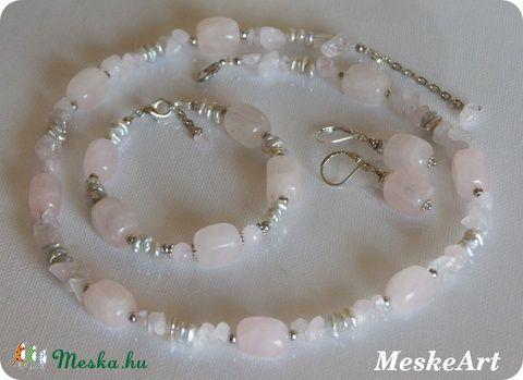 Rózsakagyló - rózsakvarc és kagyló ékszerszett - nikkelmentes nyaklánc, karkötő és fülbevaló / Rosequartz and shell jewellery set with necklace, bracelet and earring / Ruzenin a musla - nausnice, náramok a nahrdelnik