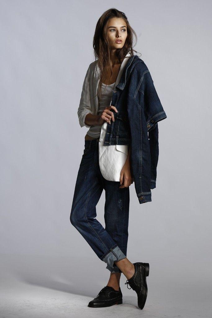 Denim Trend: Girl Likes Boy (7 For All Mankind's cotton linen blazer; Diesel's cotton and spandex denim jacket, over shoulder; Market's cotton tank top; Victoria Beckham Denim's cotton denim jeans. Esquival shoes.)