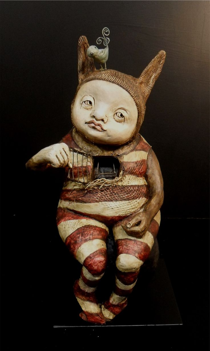 I could feel my happiness but i couldn't get it back inside me - Sculpture by Helen Back -HelenBack.com