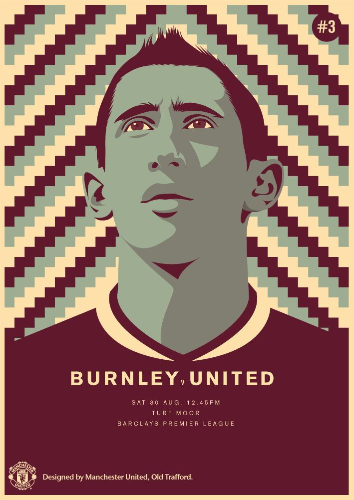 Match poster. Burnley vs Manchester United, 30 August 2014. Designed by @manutd.