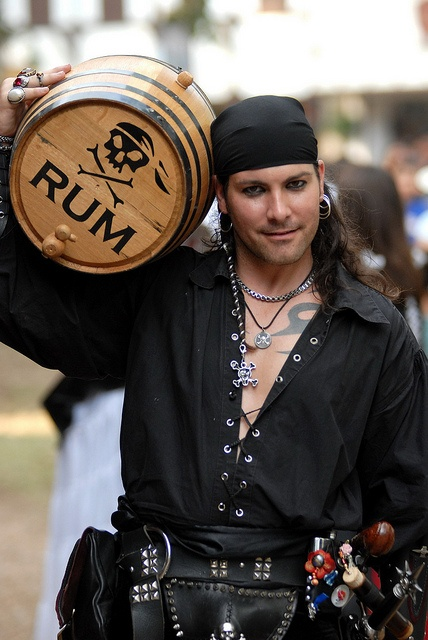 Ah, rum. Did you know that grog, a mainstay of the pirates was rum, water, sugar and lemon or lime juice. It is actually pretty good and the citrus kept scurvy away. Even on military ships men were issued grog once a week. C. J. http://ladybladeblog.wordpress.com/