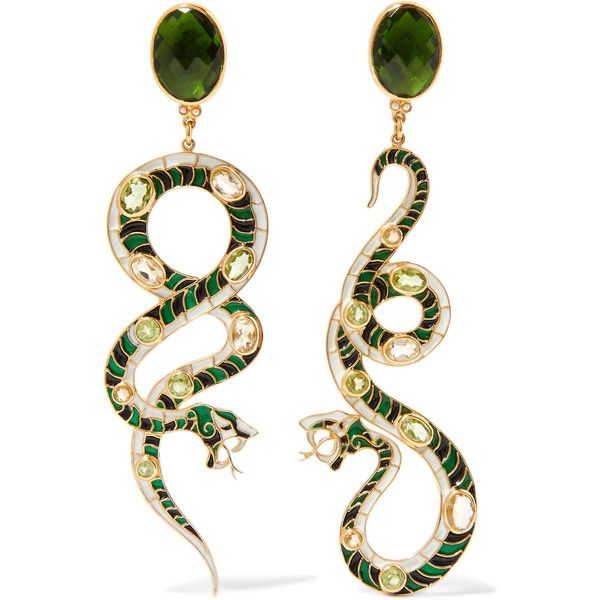 Percossi Papi Gold-plated multi-stone earrings ($1,320) ❤ liked on Polyvore featuring jewelry, earrings, multi stone earrings, diego percossi papi, heart shaped earrings, gold plated jewellery and snake jewelry