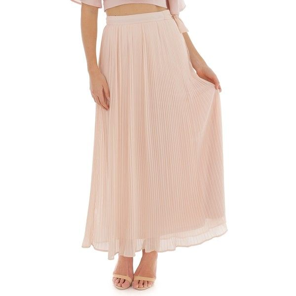 Ally Fashion Tie Waist Pleated Chiffon Maxi Skirt (36 AUD) ❤ liked on Polyvore featuring skirts, blush, pink chiffon skirt, long maxi skirts, chiffon maxi skirt, pink pleated maxi skirt and long chiffon maxi skirt