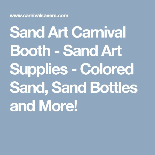 Sand Art Carnival Booth - Sand Art Supplies - Colored Sand, Sand Bottles and More!