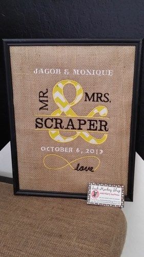 Mr. & Mrs. Personalized Appliqued Chevron on Burlap Frame | sockmonkeyshop - Housewares on ArtFire