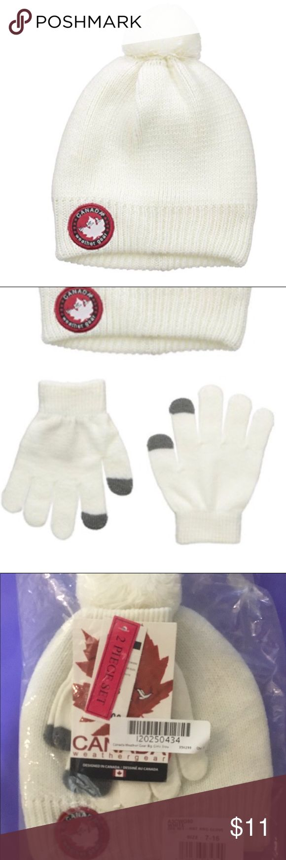 Canada Weathergear Girls' Beanie n matching Gloves Girls' size 7-16 off-white Slouchy Beanie with Tech Touch Gloves Set   One size fits most  Slouchy sweater knit Pom Pom beanie and Tech Touch gloves  set made of sweater knit with lurex threads  Tech touch matching gloves means no need to remove gloves for phone access  Matching gloves feature Tech Touch finger and thumb   Color: white, off-white  Size: Girls' 7-16, one size fits most Canada Weathergear Accessories Hats
