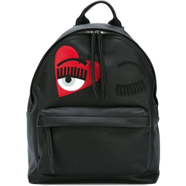 Chiara Ferragni Backpack found on Polyvore featuring bags, backpacks, black, rucksack bags, genuine leather bags, backpack bags, real leather bags and knapsack bag