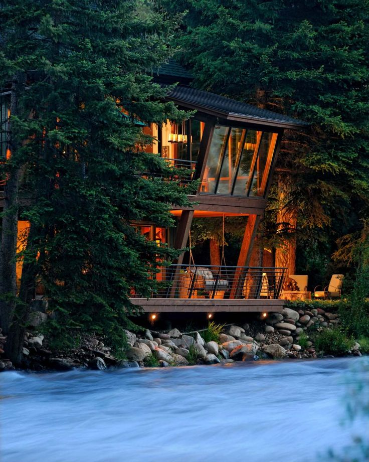 Modern treehouse suspended over a roaring river in Old Snowmass | Cabin | Pinterest | Treehouse, Modern and David johnston