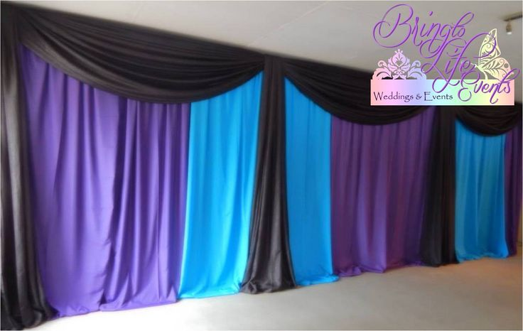 Blue, purple and black draping for an 18th Birthday