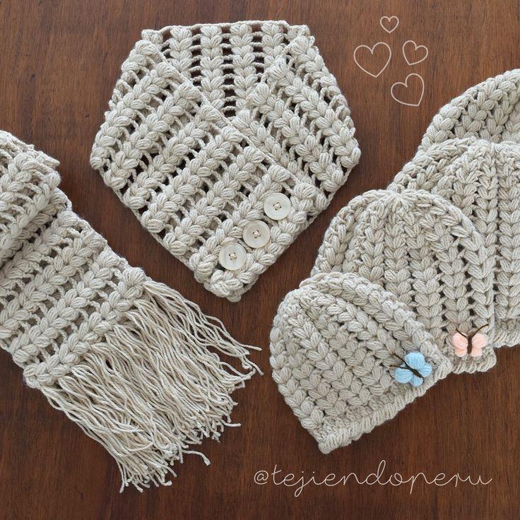 Gorros y bufandas trenzados tejidos a crochet para toda la familia!  Video tutorial del paso a paso ;)