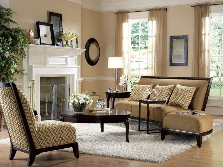 casual small living room plan decorating ideas with classic brown fabric sectional sofa and chevron accent