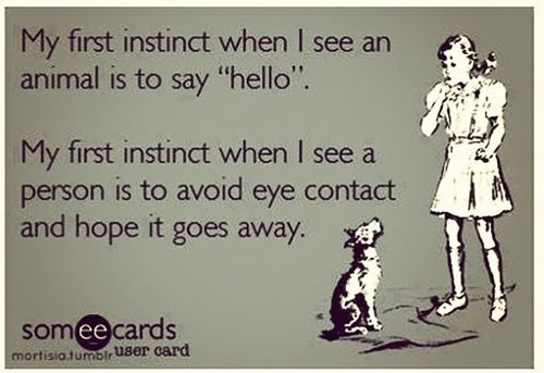 "My first instinct when I see an animal is to say ""hello"". My first instinct when I see a person is to avoid eye contact and hope it goes away."