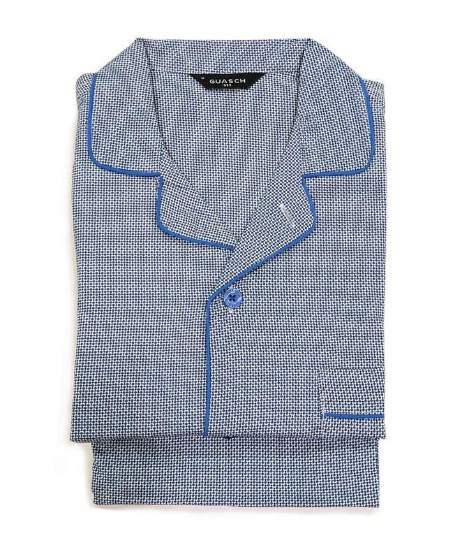 ¡NUEVO MODELO! Pijama en tela de GUASCH, algodón 100% para un uso continuado de todo el año. Acabado azul con topitos. + modelos en varelaintimo.com