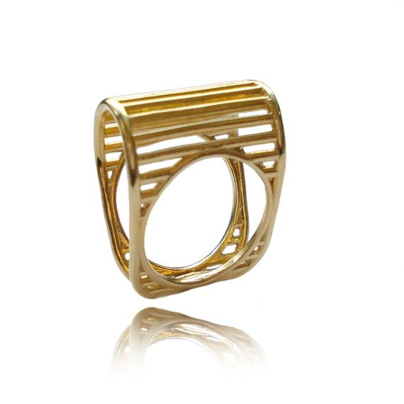 Gold Lines Ring Wired Ring Architecture linear Gold by osnatharnoy, $111.00