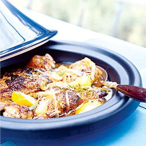 Chicken Tagine with onion, honey, and mint. Tagine (tah-jeen) refers both to this stewlike recipe and the wide, shallow clay pot with a cone- or dome-shaped lid traditionally used to cook it in North Africa. (A Dutch oven will also work.) Tagines are usually made with chicken or lamb, but any meat or vegetable that braises well can be used.