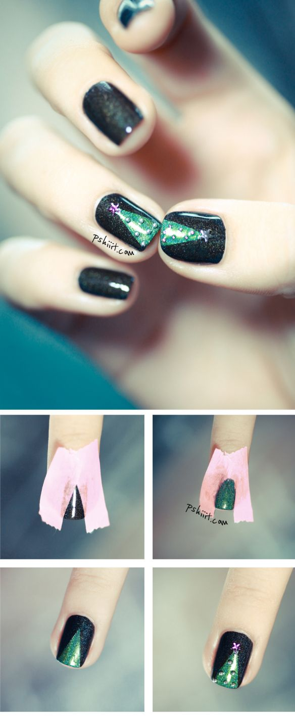Christmas tree Nail art <3
