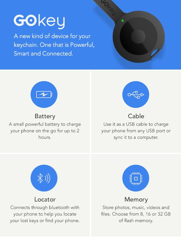 GoKey - Battery. Cable. Locator. Memory. All on your keychain!