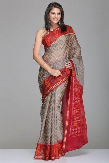 Grey Pochampally Silk Cotton Saree With Beige Zigzag Pattern And Maroon Border And Pallu