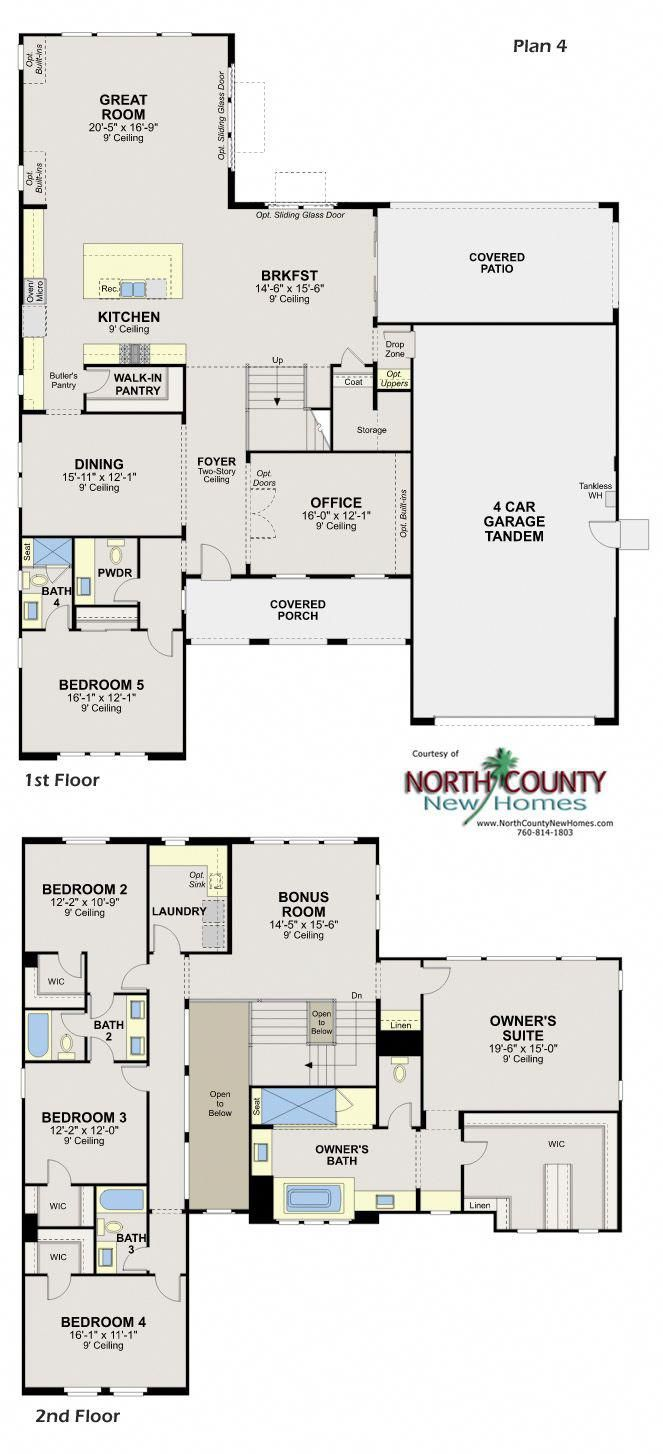 New Homes In Escondido Whiitingham In Harmony Grove Village New Homes In San Diego North Count Luxury Floor Plans House Layout Plans Luxury House Floor Plans