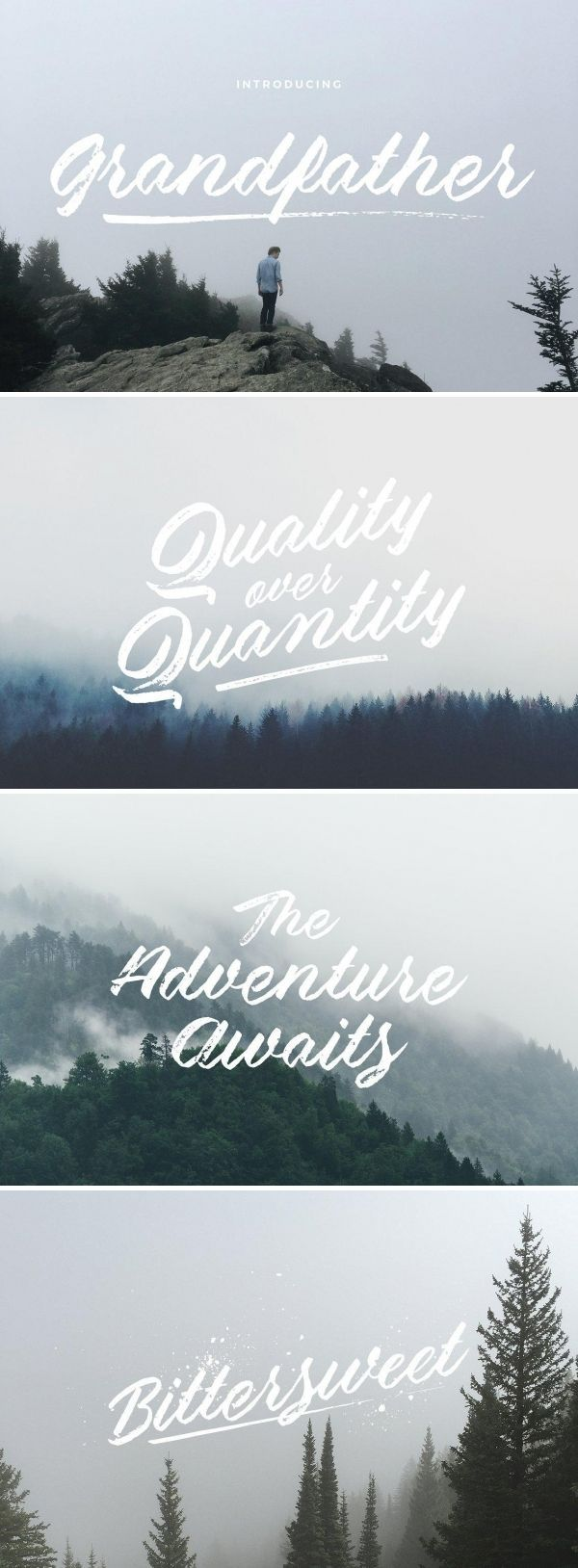 Grandfather is a handwritten brush script font. It takes inspiration from Grandfather Mountain in North Carolina. (it's also named after it!) #font #typeface #typegang #typespire #typematters #type #fontdesign #typography #graphicdesign #typographyinspire #handmadefont #creativemarket #ad