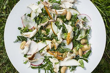Simple smoked fish salad with lemon and herbs