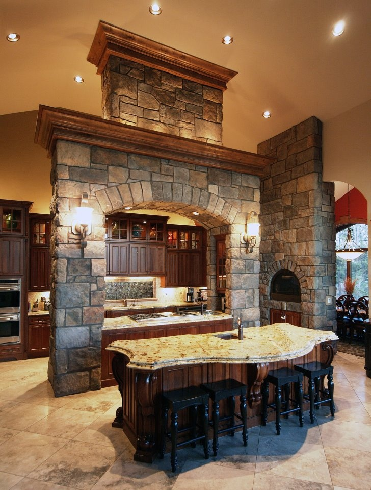 Kitchen decor, Kitchen designs, Kitchen decorating ideas - Here Is An Absolutely Gorgeous Kitchen Project Featuring Coronado Stone's English Rubble Profile!  Image Courtesy Of Timber Ridge Properties!