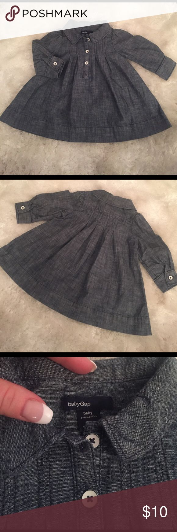 NWOT.  babyGap lightweight denim floaty dress Just too cute🎀 Light weight babyGap denim dress with collar. Comfy denim with 3 white buttons down the front. Size 3-6 months. Precious with leggings or tights. New with out tags. Never worn. GAP Dresses Casual