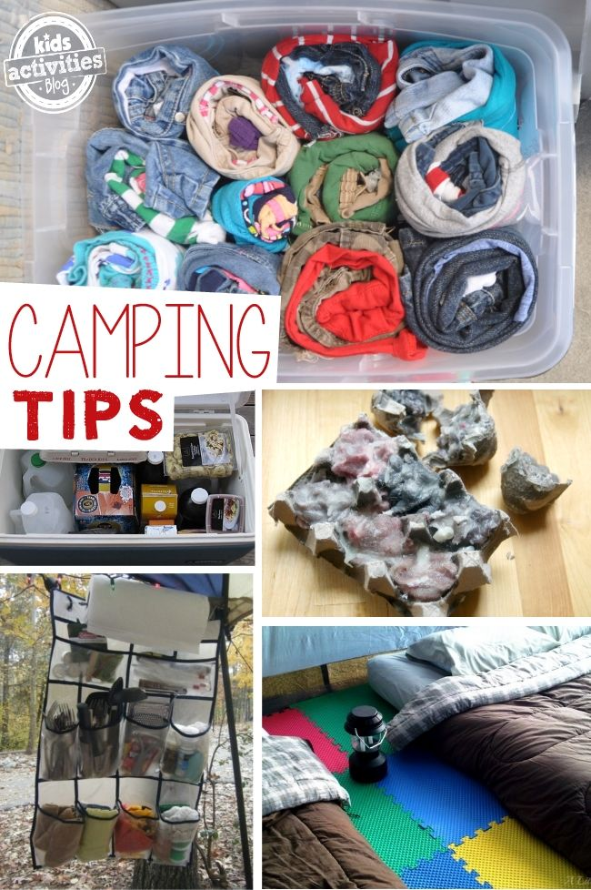 Camping Tips and Hacks for Families. I love the tip about how to pack clothes for kids...how have I not thought of that?!