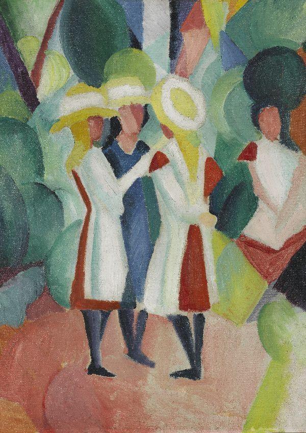 Afbeelding van Drei Mädchen mit gelben Strohhüten I