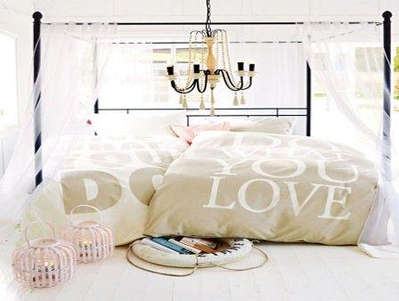 Sprüche auf der Bettwäsche