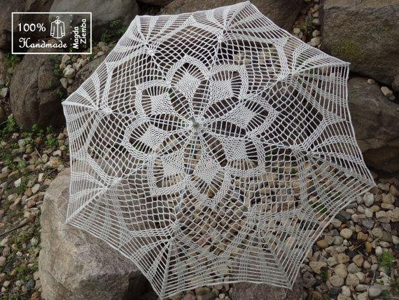 48 IVORY Lace Crochet Flower UMBRELLA PARASOL Sunbrella by kolus79, $99.00