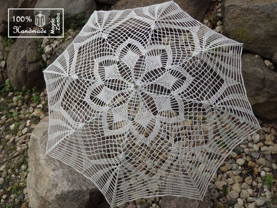 "48"" IVORY Lace Crochet Flower UMBRELLA PARASOL Sunbrella, Summer Wedding, Party Favor- Ready to Ship"