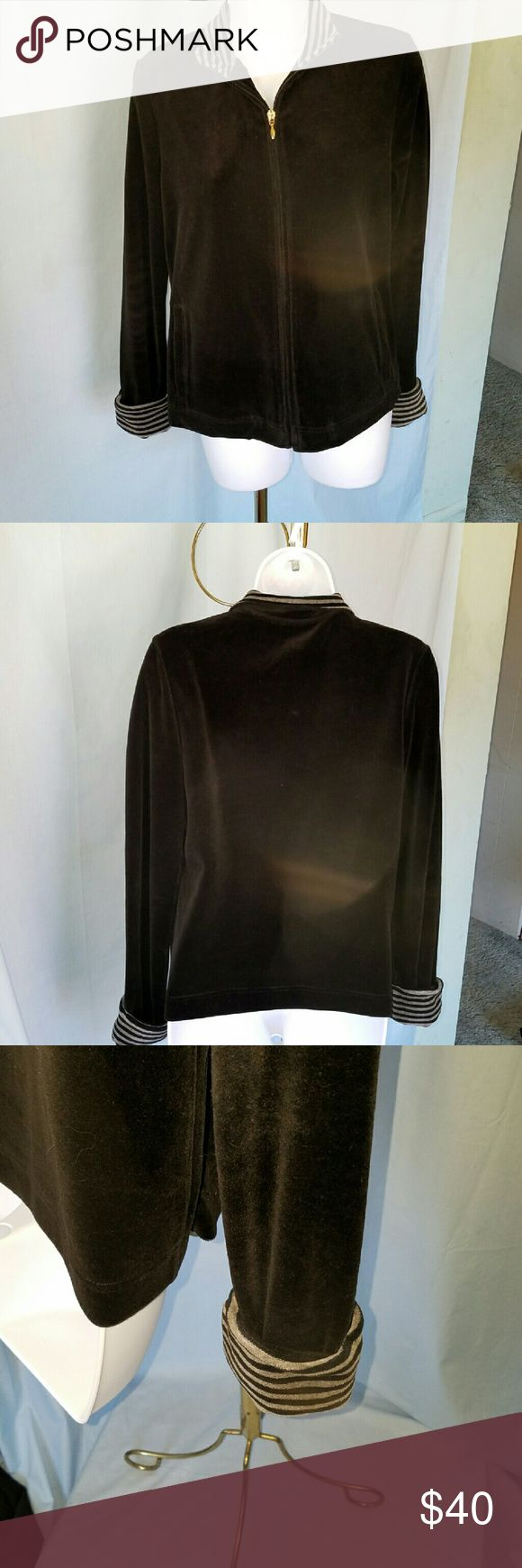 """!!NEW!! NWOT MACY'S CHARTER CLUB VELOUR JACKET MACY'S CHARTER CLUB BLACK SOFT VELOUR JACKET with gold tone zipper. Collar and cuffs are accented with grey and black stripes. """"Relaxed"""" by Charter Club. 74% cotton and 26% polyester.  Super soft and comfy! Charter Club Jackets & Coats"""
