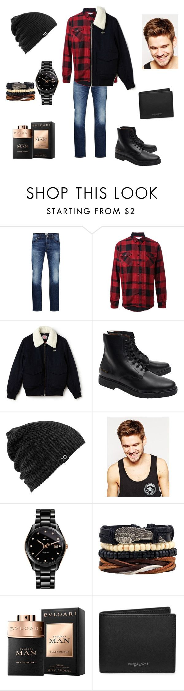 """""""Untitled #408"""" by cuevas-stefanny ❤ liked on Polyvore featuring Jack & Jones, Sacai, Lacoste, Common Projects, Burton, Toni&Guy, Rado and Michael Kors"""