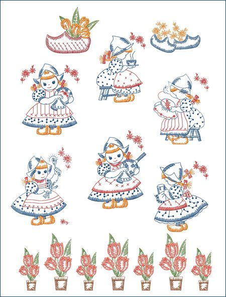 Dutch Girls Kitchen Set - machine embroidery designs - ABC Embroidery