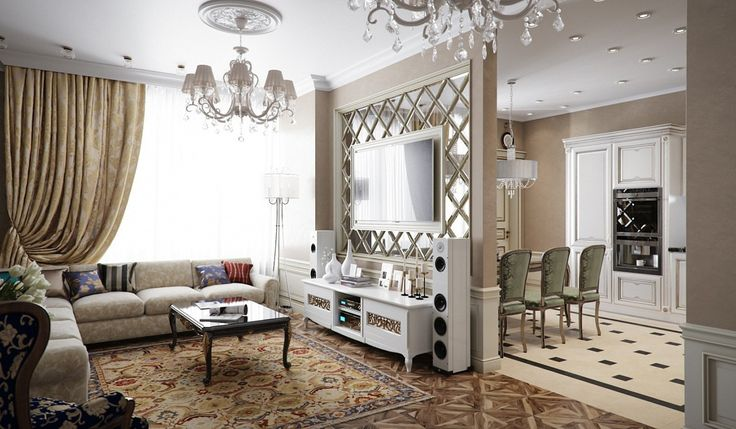 Квартира выполнена вупрощенном классическом стиле, изкоторого убрали часть фактуры исложную мебель, зато оставили такие классические элементы как лепнина игалтели. Стены оформлены спомощью декоративной штукатурки, авспальне использовались необычные панно изколлекции Infinito фабрики Affresco. Нафоне цвета слоновой кости, преобладающего винтерьере, ярким акцентом выделяются элементы черного, кпримеру, стол вгостиной икомод вспальной комнате.