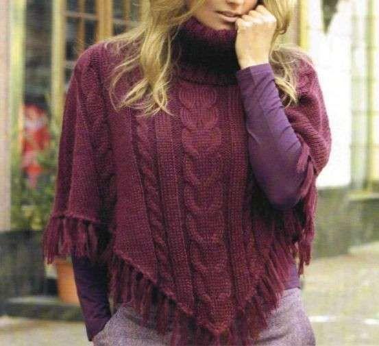 Crea un poncho a punto treccia con i nostri lavori a maglia [FOTO]   PourFemme Tempo Libero