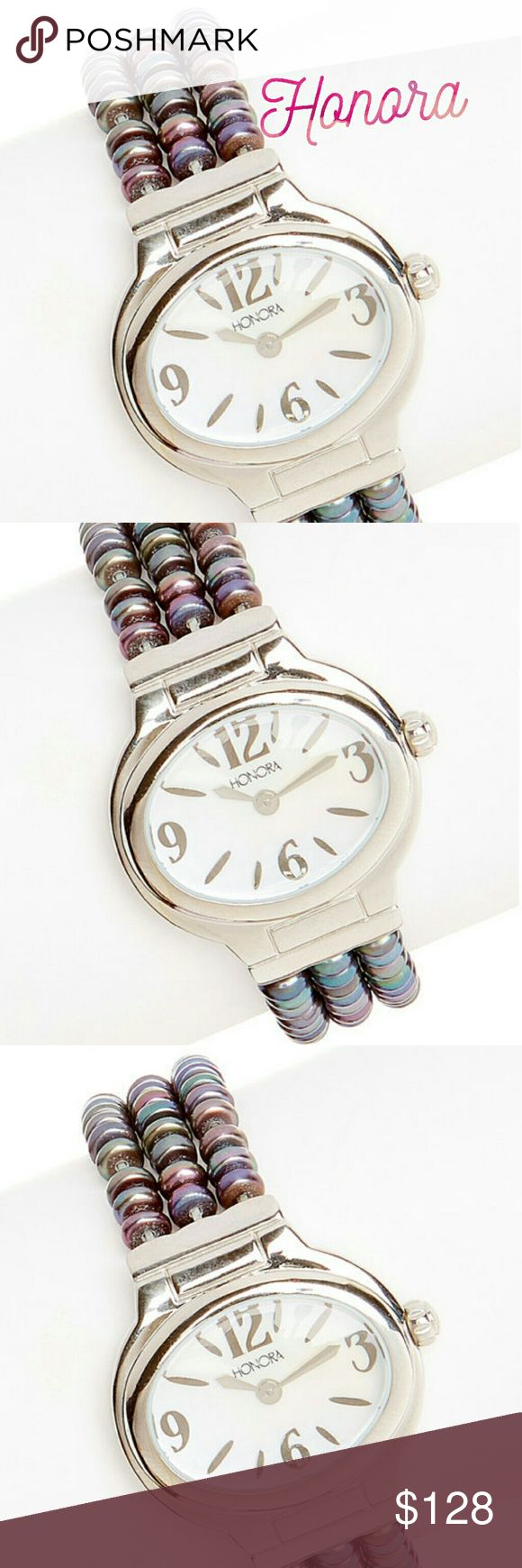 HONORA WATCH Pearl and stainless steel stretch watch multiple colors elegance and comfort in this shimmering watch. It's stretchy bracelet is composed entirely of freshwater pearls for a sophisticated and comfortable all day  Includes watch box Case 1.25w ? 1.5 like Bracelet 0.75w ? 7 long Stretch  Case is stainless steel  Face mother of pearl  Analog display  Cultured freshwater pearls  Push pull crown Honora Accessories Watches