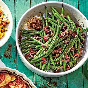 SIDE DISH - Mediterranean Green Beans - SL June '14 - kalamata olives, shallots & a dijon oil, vinegar dress this dish.