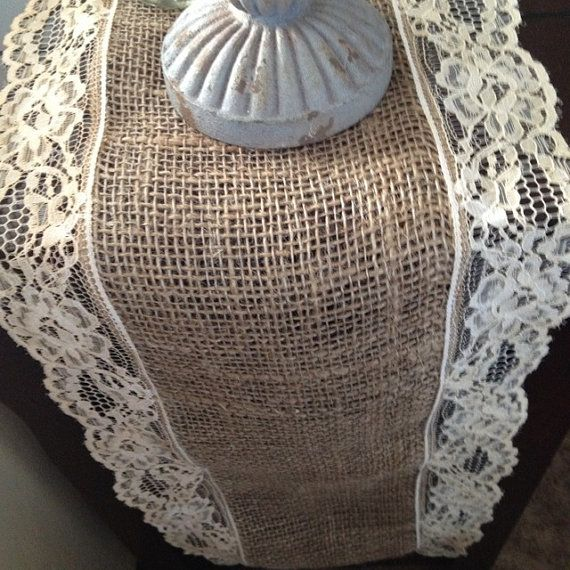 Burlap and Lace Table Runner, gathering ideas for what to do with my wedding dress...