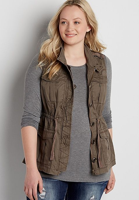 plus size military style vest | maurices